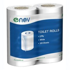 White 2Ply 320 Sheet Toilet Rolls Janitorial Supplies
