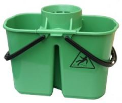 Janilec Twin Mop Bucket 15 litre Green Janitorial Supplies
