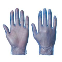 Small Blue Vinyl Gloves Powder Free Janitorial Supplies