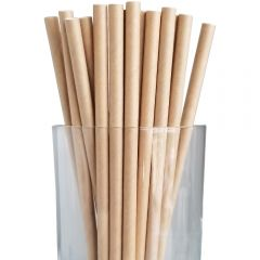 Biodegradable Paper Straight Jumbo Straw 200mm Kraft Janitorial Supplies