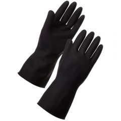 Small Black Heavyweight Rubber Gloves Janitorial Supplies
