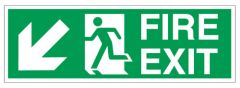 Fire Exit Sign Down Left Arrow 200x600mm Janitorial Supplies