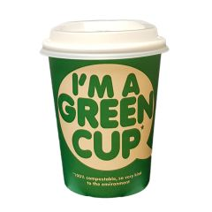 8oz Single Wall IM A GREEN CUP with Lids 8oz/250ml Janitorial Supplies