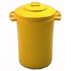 110 Litre Yellow Dustbin with Lid Janitorial Supplies
