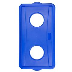 Wall Hugger Recycle Lid 2 Holes Blue Bottles or Cans Janitorial Supplies