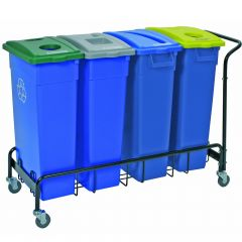 Wall Hugger Recycle 4 Bin Trolley Janitorial Supplies