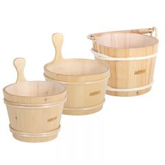 Harvia Wooden Sauna Buckets with Plastic Liner 4 Litre Janitorial Supplies