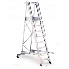 Warehouse Aluminium  Folding  Step Ladder 8 Tread Janitorial Supplies