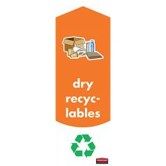 Rubbermaid Slim Jim Dry Recycling Labels Pack of 4 Janitorial Supplies