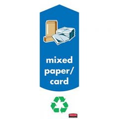 Rubbermaid Slim Jim Paper & Card Recycling Labels Pack of 4 Janitorial Supplies