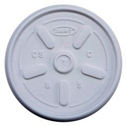 Dart 12JL Vented Plastic Foam Cup Lid 12oz Janitorial Supplies