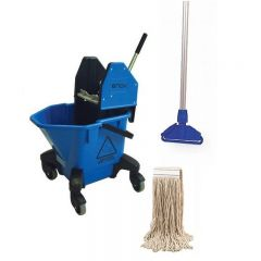 Kentucky 20L Bucket & Mop Set Blue 12oz Janitorial Supplies