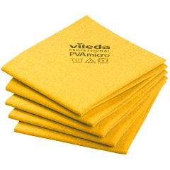 Vileda PVAmicro Streak-Free Cloths Yellow Janitorial Supplies
