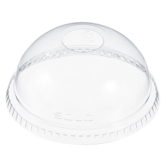 Solo DLR685 Ultra Clear Domed Lid With Hole 7oz Janitorial Supplies