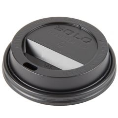 Solo Traveler Domed Paper Cup Lid Black 16oz Janitorial Supplies