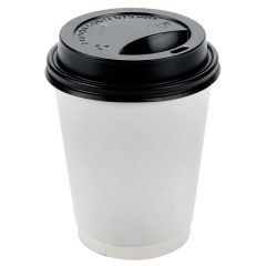 Paper Hot Cup White & Black Traveler Lid Combo 10oz 300ml Janitorial Supplies