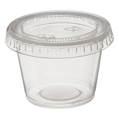 Plastic Souffle Portion Cups & Lids Clear Combo 1.25oz 37ml Janitorial Supplies