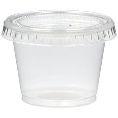 Plastic Souffle Portion Cups & Lids Combo Translucent 1.25oz 37ml Janitorial Supplies