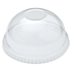 Compostable Clear PLA No Hole Domed Lid 20oz Janitorial Supplies