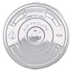 Compostable Clear PLA Flat Lid 12oz Janitorial Supplies