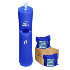 Hand & Handle Wet Wipe Dispenser & Bin Starter Kit Blue Janitorial Supplies