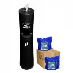Hand & Handle Wet Wipe Dispenser & Bin Starter Kit Black Janitorial Supplies