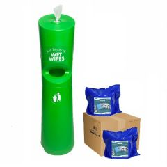 Hand & Handle Wet Wipe Dispenser & Bin Starter Kit Green Janitorial Supplies