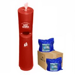 Hand & Handle Wet Wipe Dispenser & Bin Starter Kit Red Janitorial Supplies