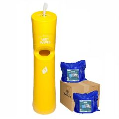 Hand & Handle Wet Wipe Dispenser & Bin Starter Kit Yellow Janitorial Supplies