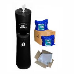 Hand & Handle Wet Wipe Dispenser & Bin Ready To Wipe Pack Black Janitorial Supplies