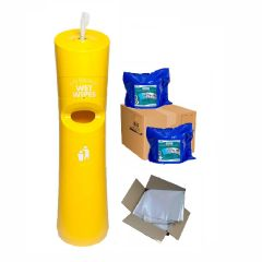 Hand & Handle Wet Wipe Dispenser & Bin Ready To Wipe Pack Yellow Janitorial Supplies