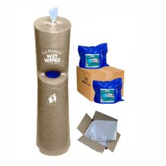 Hand & Handle Wet Wipe Dispenser & Bin Ready To Wipe Pack Sandstone Janitorial Supplies