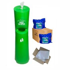Hand & Handle Wet Wipe Dispenser & Bin Ready To Wipe Pack Green Janitorial Supplies
