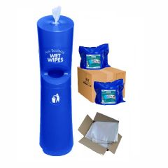 Hand & Handle Wet Wipe Dispenser & Bin Ready To Wipe Pack Blue Janitorial Supplies