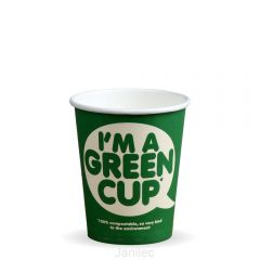 8oz Single Wall IM A GREEN CUP Compostable Janitorial Supplies
