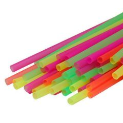 Flexible Drinking Plastic Straws 200mm Neon Janitorial Supplies