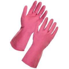 Rubber Household Gloves Small Pink Janitorial Supplies