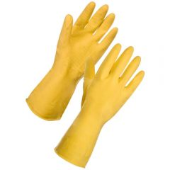 Rubber Household Gloves Small Yellow Janitorial Supplies