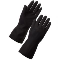 Rubber Heavy Weight Gloves Medium Black Janitorial Supplies