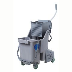 Unger Dual Mop Bucket with Side-Press Wringer 30L Grey Janitorial Supplies