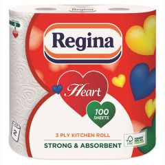 Regina Heart Kitchen Towels 3ply White Janitorial Supplies