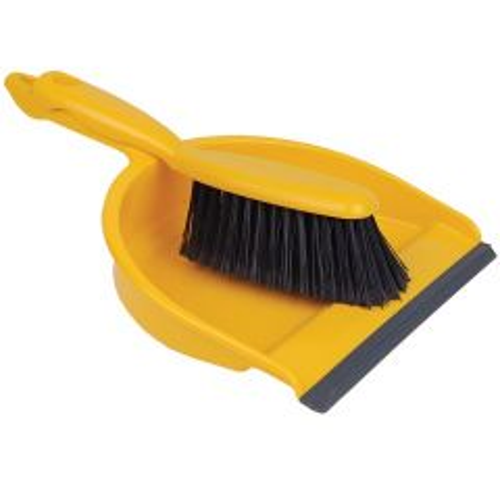 Dustpan & Brush Set Stiff Yellow Janitorial Supplies