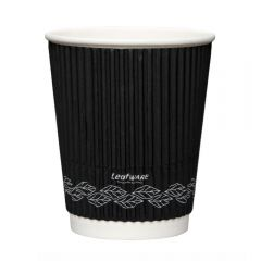 Leafware Black Ripple Double Wall Hot Cups 8oz 240ml Janitorial Supplies