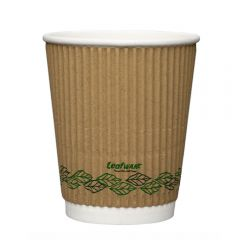 Leafware Kraft Ripple Double Wall Hot Cups 8oz 240ml Janitorial Supplies