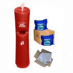 Hand & Handle Wet Wipe Dispenser & Bin Ready To Wipe Pack Red Janitorial Supplies