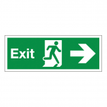 Fire Exit Sign Arrow Right 450x150mm Janitorial Supplies