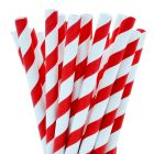Biodegradable Paper Straight Cocktail Straw 140mm Red Stripe Janitorial Supplies